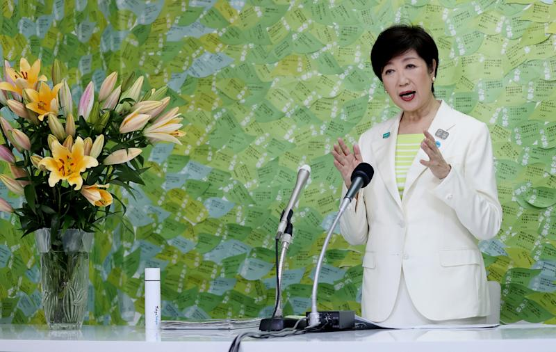 Tokyo governor Yuriko Koike speaks during a media interview in Tokyo on July 5, 2020. - Tokyo governor Yuriko Koike declared victory in the July 5 vote to elect the leader of one of the world's most populous cities and immediately vowed to step up the fight against a recent coronavirus resurgence. (Photo by STR / JIJI PRESS / AFP) / Japan OUT (Photo by STR/JIJI PRESS/AFP via Getty Images)