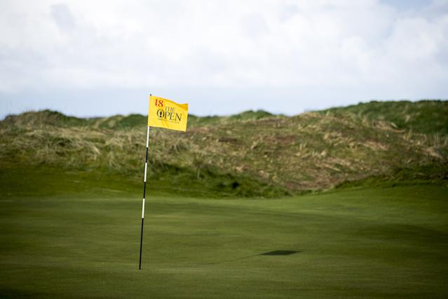 """<h1 class=""""title"""">148th Open Media Day - Royal Portrush Golf Club</h1> <div class=""""caption""""> A general view of the view of the 18th hole flag at Royal Portrush Golf Club, Northern Ireland. (Photo by Liam McBurney/PA Images via Getty Images) </div> <cite class=""""credit"""">Liam McBurney - PA Images</cite>"""