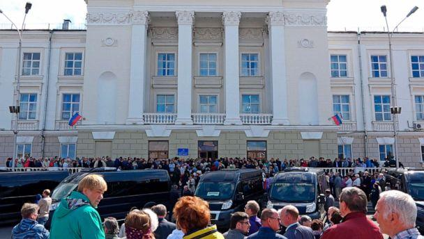 PHOTO: In this grab taken from a footage provided by the Russian State Atomic Energy Corporation ROSATOM press service, people gather for the funerals of five Russian nuclear engineers killed by a rocket explosion in Sarov. (Russian State Atomic Energy Corporation ROSATOM via AP)