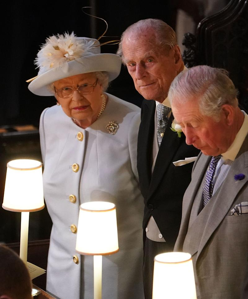 Queen Elizabeth, Prince Philip and Prince of Wales at the wedding.