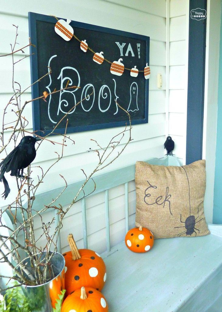 """<p>Be cheery, not eerie, this year with bright colors and playful DIY accents.</p><p><strong>Get the tutorial at <a href=""""https://thehappyhousie.porch.com/halloween-house-tour-2/"""" rel=""""nofollow noopener"""" target=""""_blank"""" data-ylk=""""slk:The Happy Housie"""" class=""""link rapid-noclick-resp"""">The Happy Housie</a>.</strong> </p>"""
