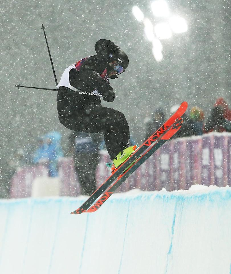 New Zealand's Lyndon Sheehan gets air during the men's ski halfpipe final at the Rosa Khutor Extreme Park, at the 2014 Winter Olympics, Tuesday, Feb. 18, 2014, in Krasnaya Polyana, Russia.  (AP Photo/Sergei Grits)