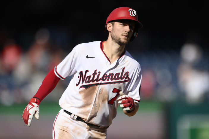 Washington Nationals' Trea Turner rounds the bases on his home run during the fourth inning of a baseball game against the Tampa Bay Rays, Wednesday, June 30, 2021, in Washington. (AP Photo/Nick Wass)