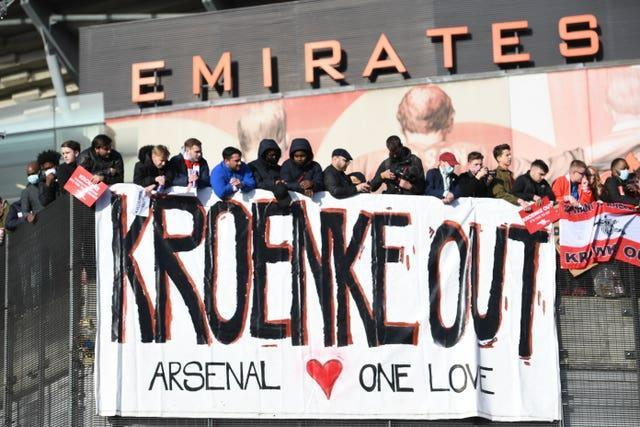Fans protested against Arsenal owner Stan Kroenke before the Premier League defeat to Everton.
