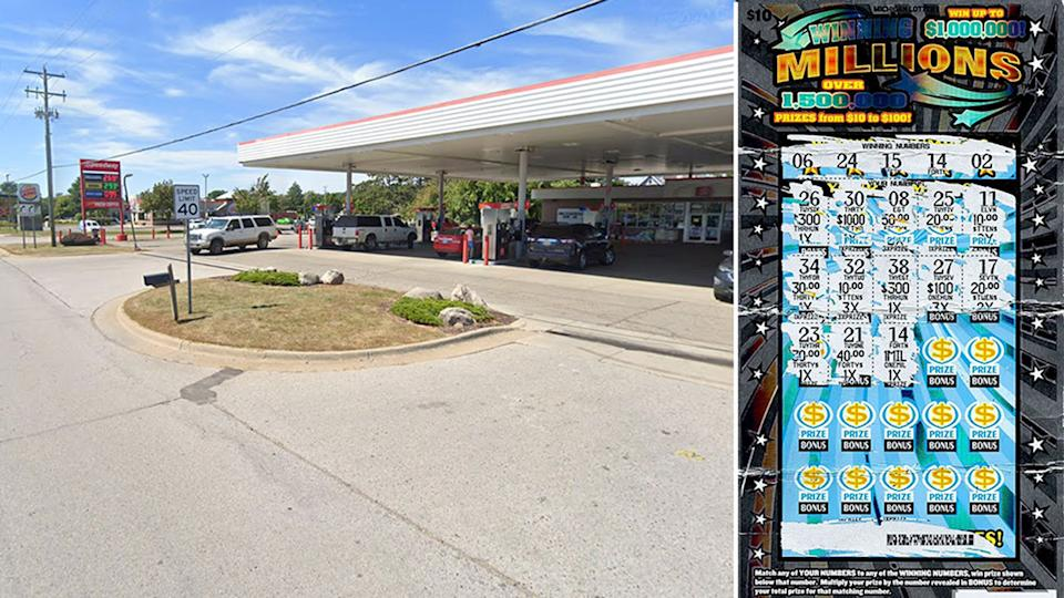 A Google Maps image of the Michigan petrol state on the left. Pictured right is the lottery scratchie.