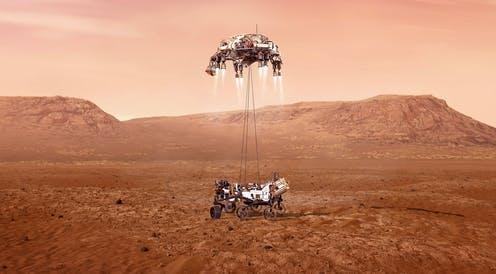 """<span class=""""caption"""">Nasa's Perseverance.</span> <span class=""""attribution""""><a class=""""link rapid-noclick-resp"""" href=""""https://www.nasa.gov/image-feature/jpl/perseverance-touches-down-on-mars/"""" rel=""""nofollow noopener"""" target=""""_blank"""" data-ylk=""""slk:NASA/JPL-Caltech"""">NASA/JPL-Caltech</a>, <a class=""""link rapid-noclick-resp"""" href=""""http://creativecommons.org/licenses/by-sa/4.0/"""" rel=""""nofollow noopener"""" target=""""_blank"""" data-ylk=""""slk:CC BY-SA"""">CC BY-SA</a></span>"""