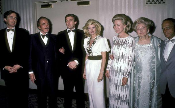 PHOTO: From left, Robert Trump, Fred Trump, Donald Trump, Ivana Trump, Elizabeth Trump, Mary Anne Trump and Roy Cohn attend an event on May 10, 1985 at the Waldorf Hotel in New York City. (Ron Galella Collection via Getty Images, FILE)