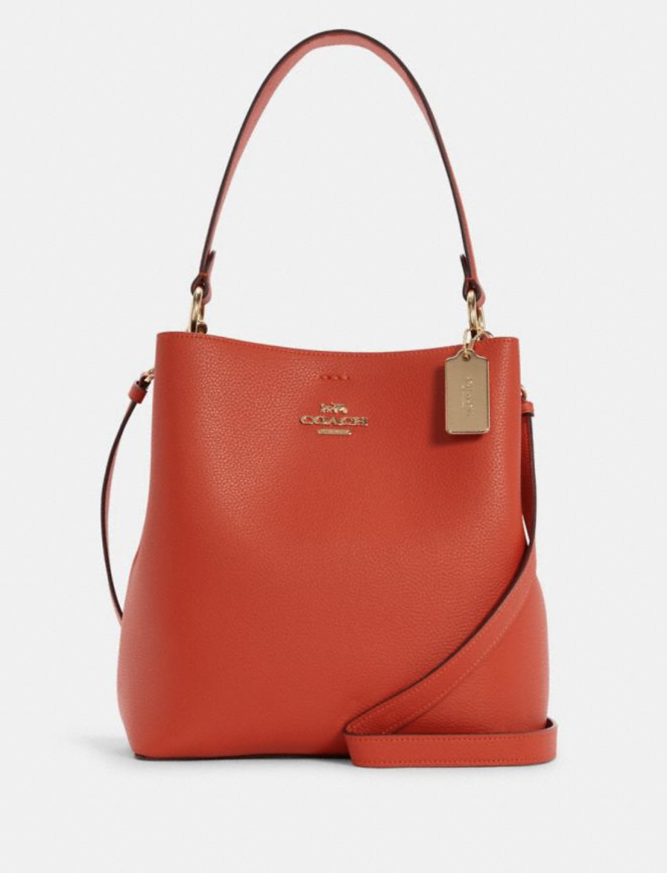 Town Bucket Bag in Mango/Wine (Photo via Coach Outlet)