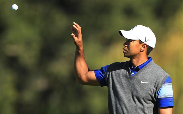 THOUSAND OAKS, CA - DECEMBER 02: Tiger Woods reaches for a golf ball on the fifth hole during the second round of the Chevron World Challenge at Sherwood Country Club on December 2, 2011 in Thousand Oaks, California. (Photo by Scott Halleran/Getty Images)