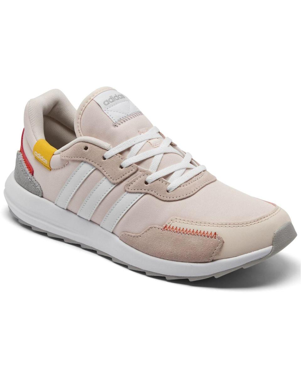 "<p><strong>adidas</strong></p><p>macys.com</p><p><a href=""https://go.redirectingat.com?id=74968X1596630&url=https%3A%2F%2Fwww.macys.com%2Fshop%2Fproduct%2Fadidas-womens-retrorun-running-sneakers-from-finish-line%3FID%3D11270118&sref=https%3A%2F%2Fwww.cosmopolitan.com%2Fstyle-beauty%2Ffashion%2Fg35698753%2Fshop-hauliday-shoe-sale%2F"" rel=""nofollow noopener"" target=""_blank"" data-ylk=""slk:Shop Now"" class=""link rapid-noclick-resp"">Shop Now</a></p><p><strong><del>$65</del> $48.75 </strong></p><p>This light-pink style with some red, yellow, and white accents is a favorite with customers. It has an almost-perfect 5-star rating with more than 200 reviews. <br></p>"