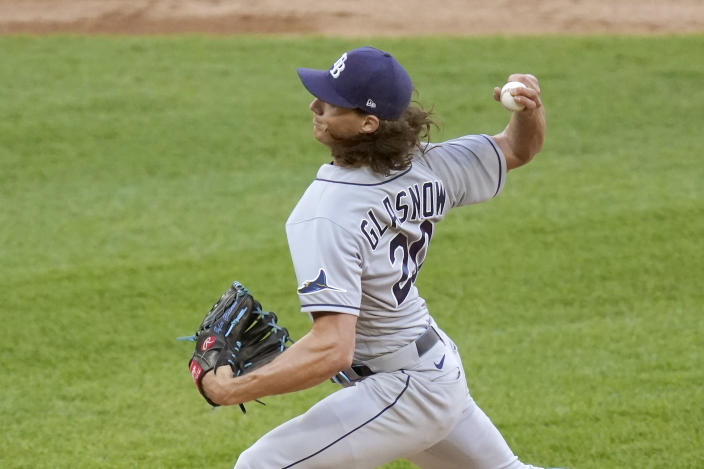 Tampa Bay Rays starting pitcher Tyler Glasnow delivers during the first inning of a baseball game against the Chicago White Sox Monday, June 14, 2021, in Chicago. (AP Photo/Charles Rex Arbogast)