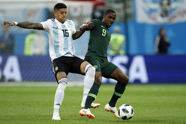 Marcos Rojo of Argentina, Odion Ighalo of Nigeria during the 2018 FIFA World Cup Russia group D match between Nigeria and Argentina at the Saint Petersburg Stadium on June 26, 2018 in Saint Petersburg, Russia(Getty Images)