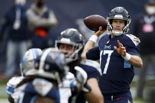 Tennessee Titans quarterback Ryan Tannehill passes against the Detroit Lions during the first half of an NFL football game Sunday, Dec. 20, 2020, in Nashville, N.C. (AP Photo/Wade Payne)