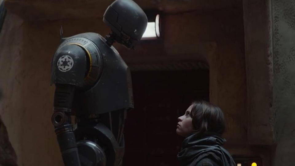 """<p>This moment where K2 says """"the captain says you are a friend"""" seems to suggest Alan Tudyk's droid meets Jyn Erso for the first time on Jedha, but they actually meet much earlier in the film. Credit: Lucasfilm/Disney </p>"""