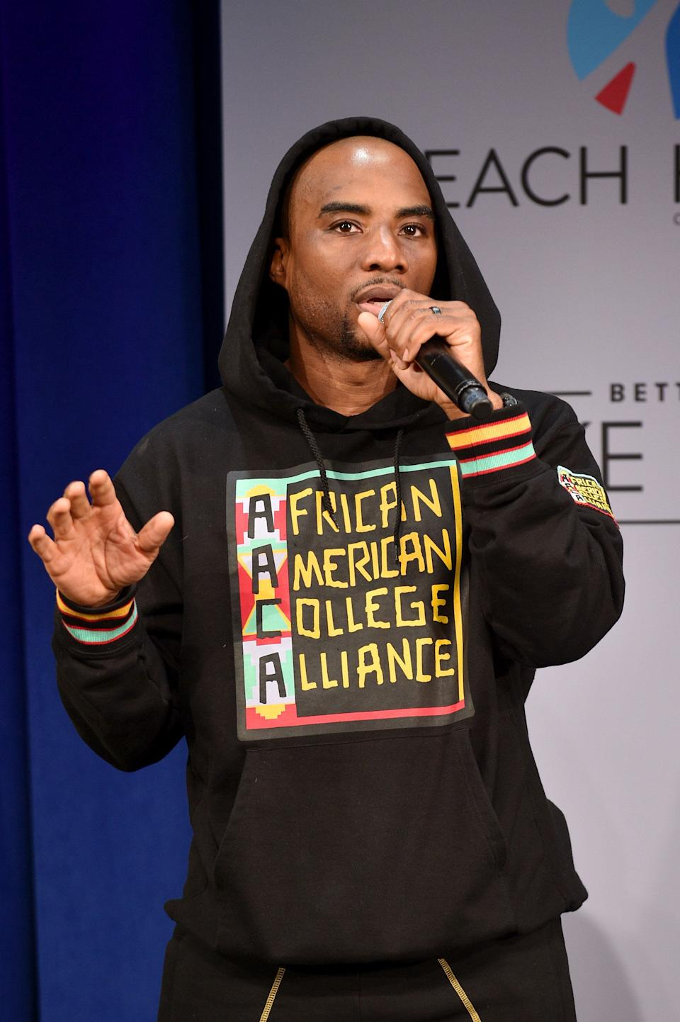 NEW YORK, NY - MAY 05:  Charlamagne tha God speaks onstage during MTV's 2017 College Signing Day With Michelle Obama at The Public Theater on May 5, 2017 in New York City.  (Photo by Bryan Bedder/Getty Images for MTV)