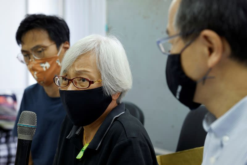 Alexandra Wong, a pro-democracy activist, attends a news conference after Chinese authorities kept her in custody for a month and a half, across the border in Shenzhen, in Hong Kong
