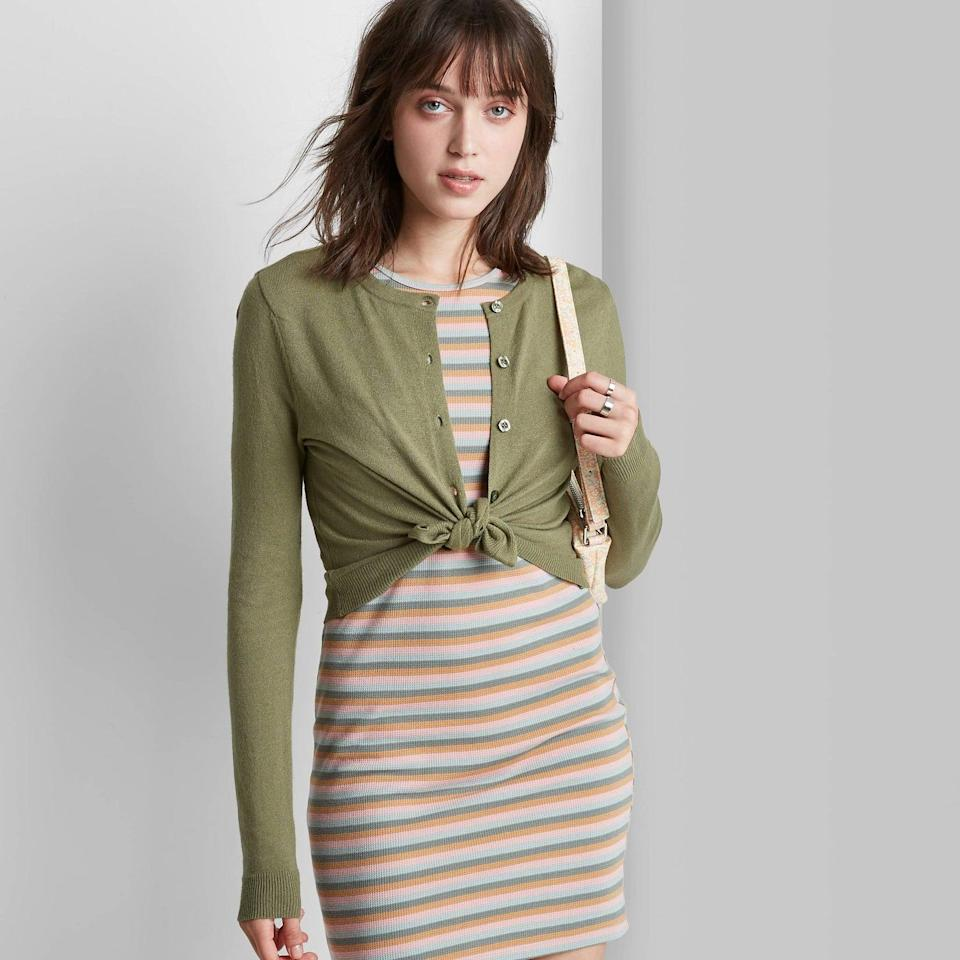 <p>This <span>Wild Fable Button-Front Cropped Cardigan</span> ($20) looks great with a dress or high-waisted jeans. Plus, we like how it's been unbuttoned and tied.</p>