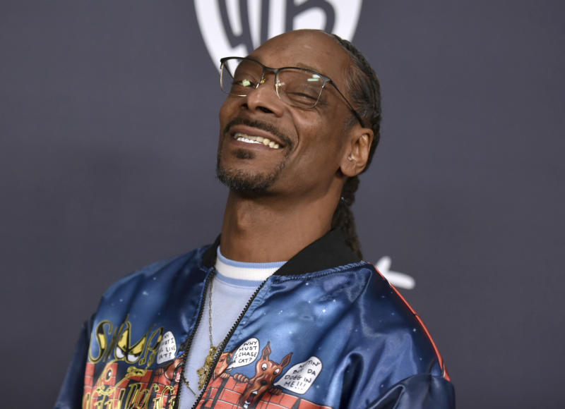 Snoop Dogg arrives at the InStyle and Warner Bros. Golden Globes afterparty at the Beverly Hilton Hotel on Sunday, Jan. 5, 2020, in Beverly Hills, Calif. (Richard Shotwell/Invision/AP)