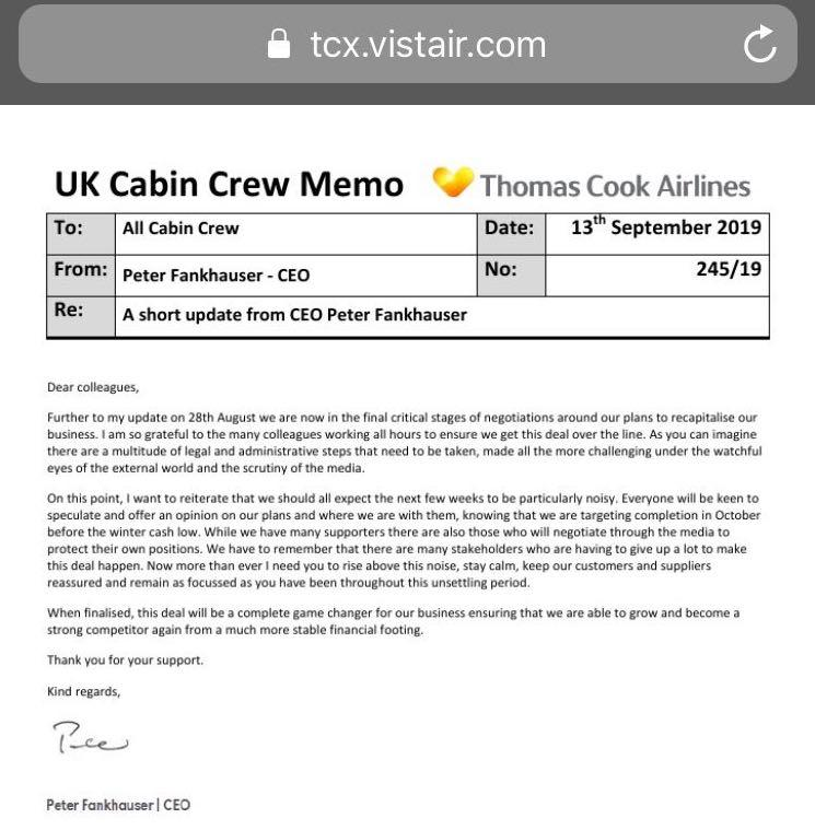Ex-Thomas Cook staff say they received this memo. Photo: Screenshot