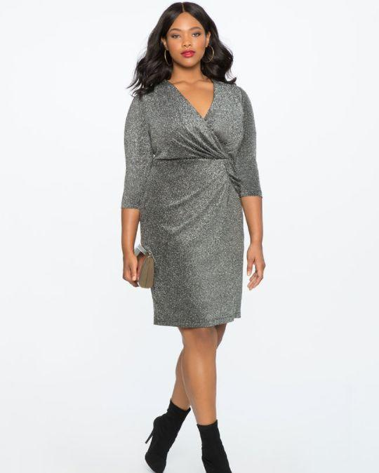 "From <a href=""http://www.eloquii.com/draped-front-metallic-knit-dress/1225326.html?cgid=dresses&dwvar_1225326_colorCode=100&start=33"" target=""_blank"">Eloquii</a>. Comes up to a size 28."