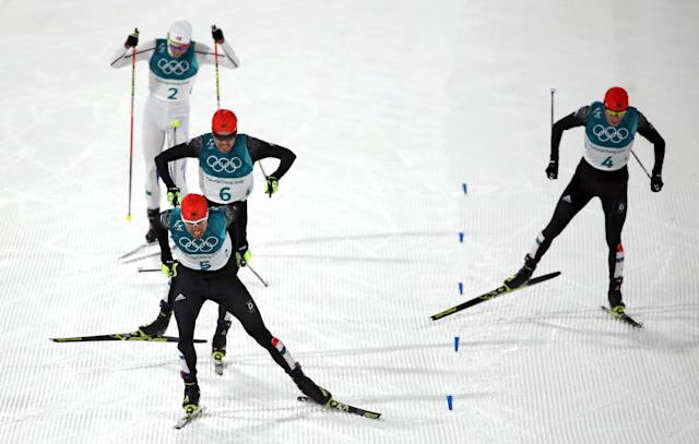 Nordic Combined Events - Pyeongchang 2018 Winter Olympics - Men's Individual 10 km Final - Alpensia Cross-Country Skiing Centre - Pyeongchang, South Korea - February 20, 2018 - Johannes Rydzek of Germany, Fabian Riessle of Germany, Eric Frenzel of Germany and Jarl Magnus Riiber of Norway approach the finish line. REUTERS/Carlos Barria TPX IMAGES OF THE DAY