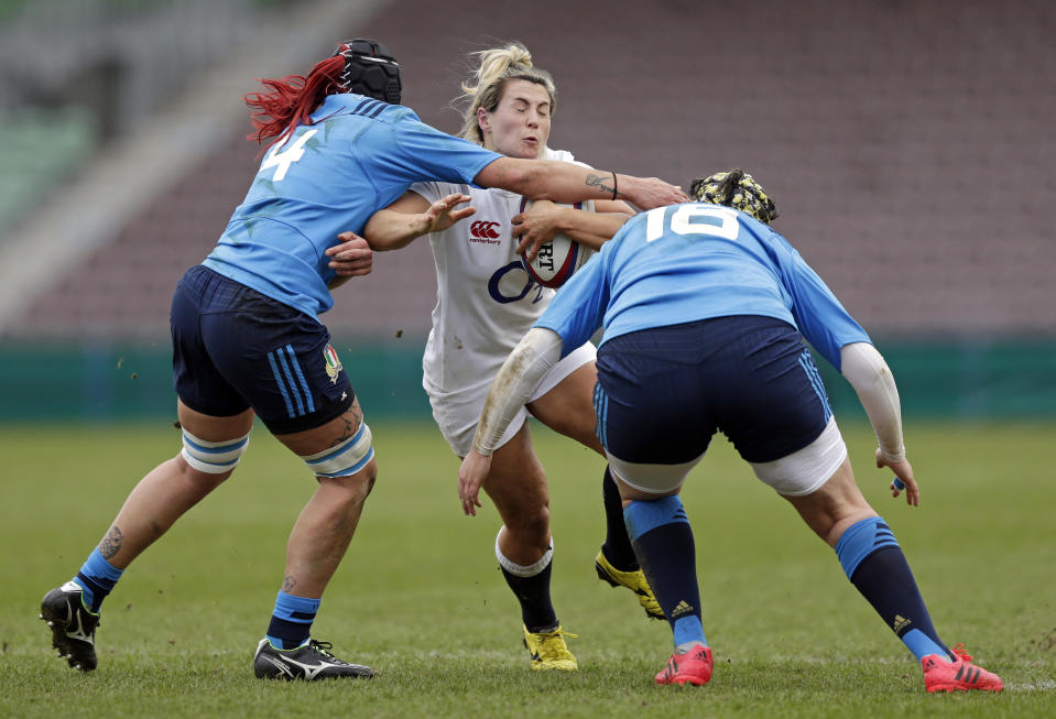 Vicky Fleetwood's first-half try helped England to a Round 2 win over Italy, that secured their spot in the 2021 Women's Six Nations showpiece © REUTERS