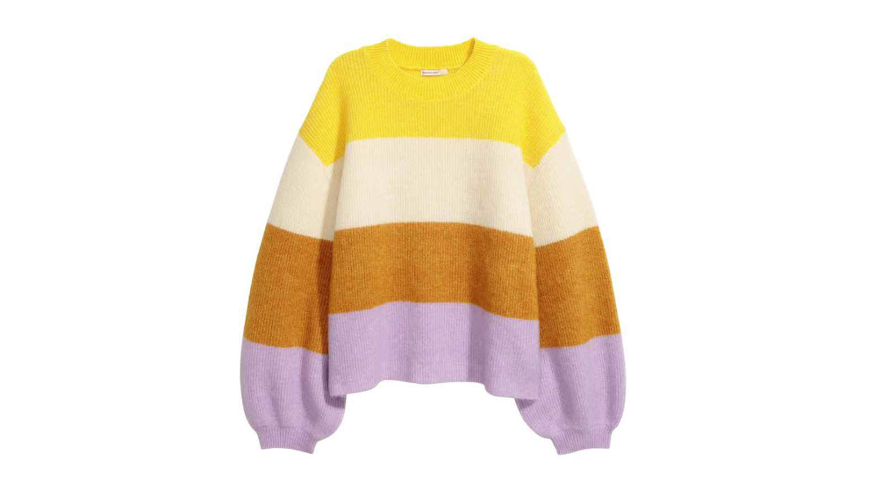 """<p>The colder weather's set to last a while longer. Brighten up your days with this colourful, striped knit. <a rel=""""nofollow"""" href=""""http://hm.com""""><em>Buy here.</em></a> </p>"""