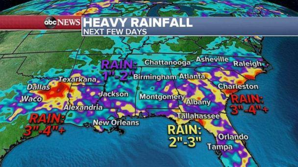 PHOTO: A stalled frontal system along the Gulf Coast could bring heavy rain and a threat for flash flooding for the Gulf Coast states over the next few days with, locally, more than 4 inches of rain possible from Texas all the way to the Carolinas. (ABC News)