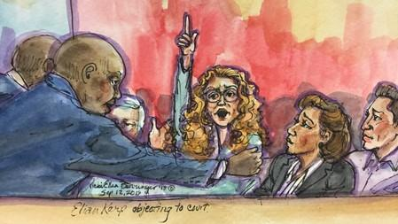 A courtroom sketch of Eliane Karp, the wife of Peru's former President Alejandro Toledo, shouting at the end of his extradition hearing