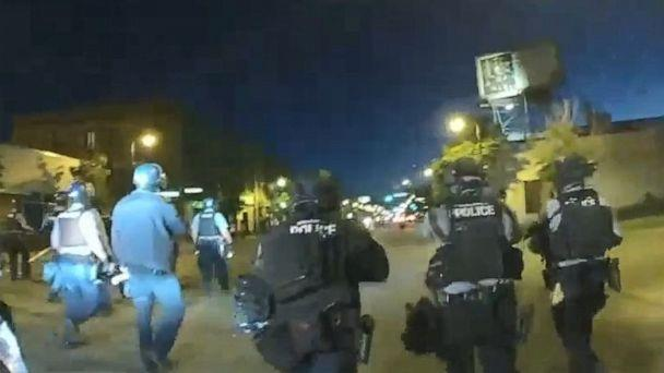 PHOTO: Newly released body camera footage shows Minneapolis police officers shooting protesters with rubber bullets. (Minneapolis Police Department)