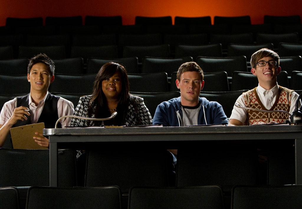 "Mike (Harry Shum Jr.), Mercedes (Amber Riley), Finn (Cory Monteith) and Artie (Kevin McHale) judge the auditions for a new musical in the """"You Were Born to Play"" episode of ""Glee."""
