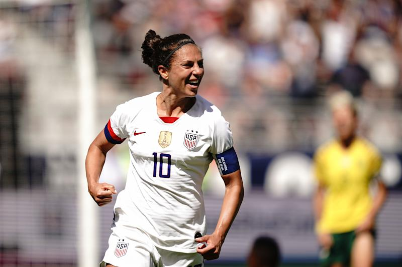 SANTA CLARA, CA - MAY 12: Carli Lloyd #10 of the United States celebrates scoring during an international friendly match between the womens national teams of the United States and South Africa on May 12, 2019 at Levis Stadium in Santa Clara, California. (Photo by John Todd/isiphotos/Getty Images)