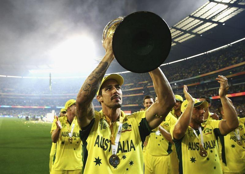 Mitchell Johnson with the 2015 World Cup