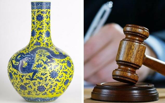 A Chinese vase valued between 500 and 800 Swiss francs that was sold for a record five million Swiss francs - AfP/Getty