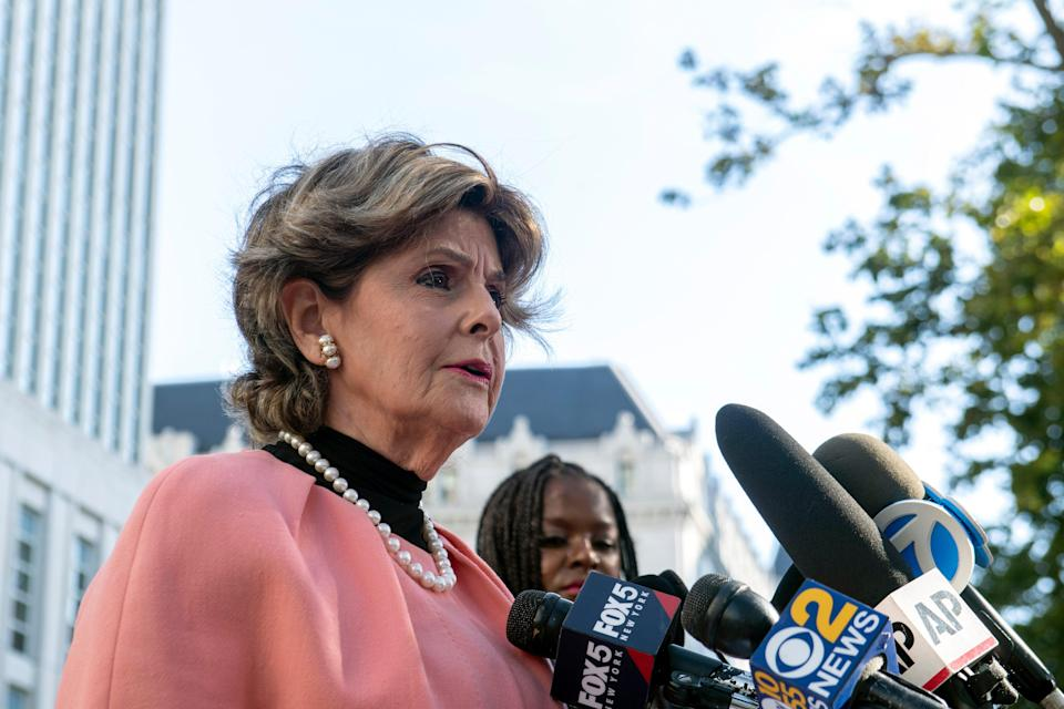 Attorney Gloria Allred speaks to the media on the guilty verdict of R Kelly at the Brooklyn Federal Courthouse, Monday, Sept. 27, 2021, in New York. (AP)