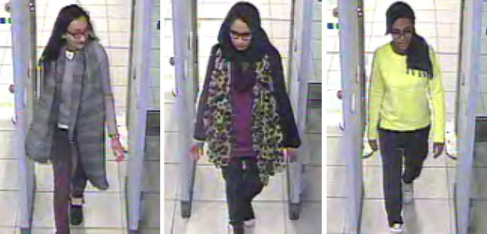 Handout comp of stills taken from CCTV issued by the Metropolitan Police of (left to right) Kadiza Sultana,16, Shamima Begum,15 and 15-year-old Amira Abase going through security at Gatwick airport, before they caught their flight to Turkey on Tuesday. The three schoolgirls believed to have fled to Syria to join Islamic State.