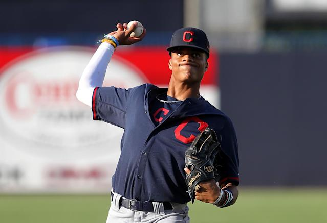"Jordyn Adams is the <a class=""link rapid-noclick-resp"" href=""/mlb/teams/laa"" data-ylk=""slk:Angels"">Angels</a>' first round draft pick, and he's got ridiculous dunking skills. (Photo by Cliff Welch/Icon Sportswire via Getty Images)"
