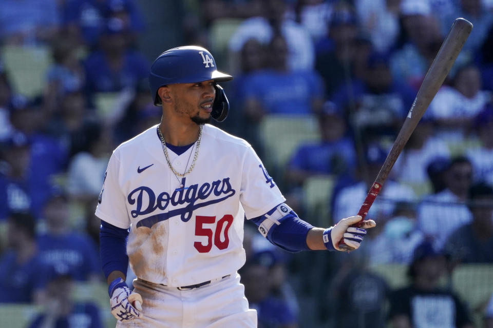 Los Angeles Dodgers' Mookie Betts bats during the fourth inning of a baseball game against the Chicago Cubs Sunday, June 27, 2021, in Los Angeles. (AP Photo/Mark J. Terrill)