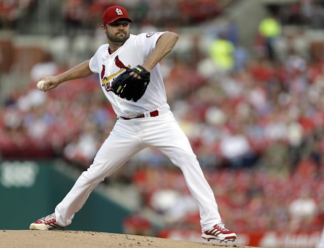 St. Louis Cardinals starting pitcher Jake Westbrook throws during the first inning of a baseball game against the Chicago Cubs, Wednesday, June 19, 2013, in St. Louis. (AP Photo/Jeff Roberson)