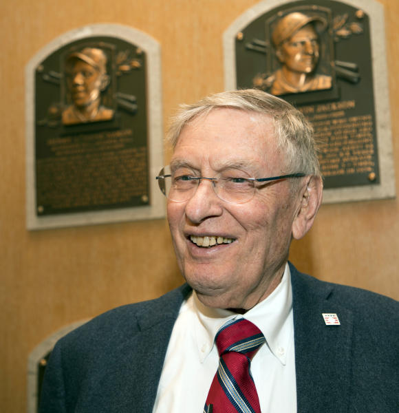 In this photo provided by the National Baseball Hall of Fame and Museum, former Major League Baseball Commissioner Bud Selig smiles while touring the Hall of Fame during his orientation visit, Thursday, April 27, 2017, in Cooperstown, N.Y. Selig will be inducted to the Hall of Fame during the summer of 2017. (Milo Stewart Jr./National Baseball Hall of Fame and Museum via AP)