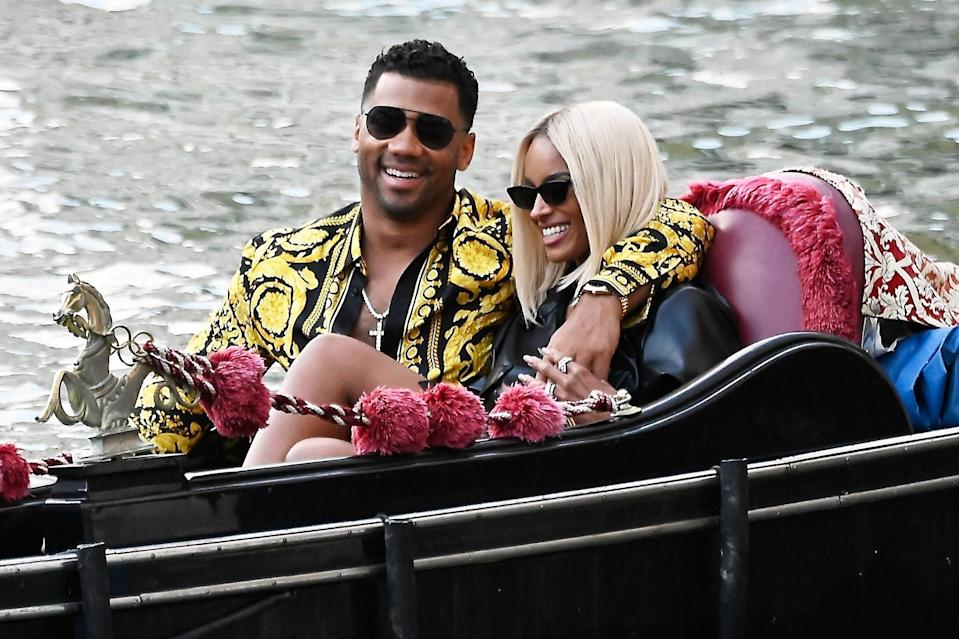 <p>Ciara and Russell Wilson cuddle up while enjoying a gondola ride in Venice, Italy on July 1.</p>
