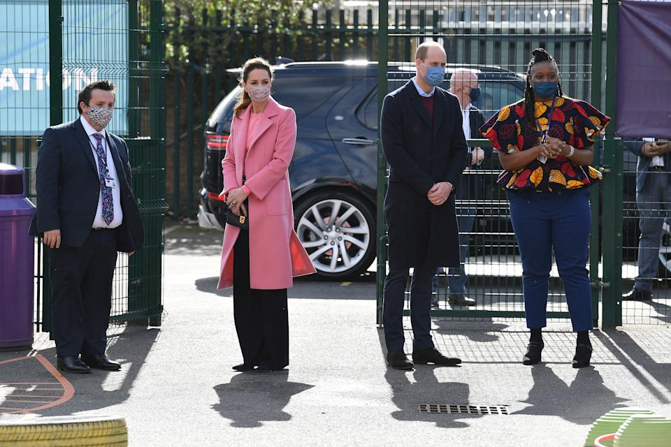 LONDON, ENGLAND - MARCH 11: Prince William, Duke of Cambridge and Catherine, Duchess of Cambridge visit School 21 in Stratford on March 11, 2021 in London, England. The Duke and Duchess of Cambridge visited the school in east London to congratulate teachers involved in the re-opening of the school following lockdown restrictions. (Photo by Justin Tallis - WPA Pool/Getty Images)