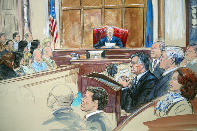 <p>This courtroom sketch shows Paul Manafort listening to U.S. District court Judge T.S. Ellis III at federal court in Alexandria, Va., Tuesday, Aug. 21, 2018. Manafort, the longtime political operative who for months led Donald Trump's winning presidential campaign, was found guilty of eight financial crimes in the first trial victory of the special counsel investigation into the president's associates. A judge declared a mistrial on 10 other counts the jury could not agree on. Kathleen Manafort listens at far right. (Photo: Dana Verkouteren via AP) </p>