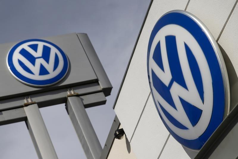 The logos of German carmaker Volkswagen is seen at a VW dealership in the Queens borough of New York
