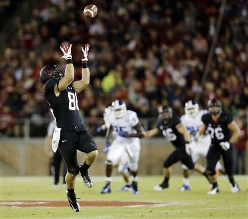 Stanford tight end Zach Ertz makes a 43-yard reception against Duke during the first half of an NCAA college football game in Stanford, Calif., Saturday, Sept. 8, 2012. (AP Photo/Marcio Jose Sanchez)