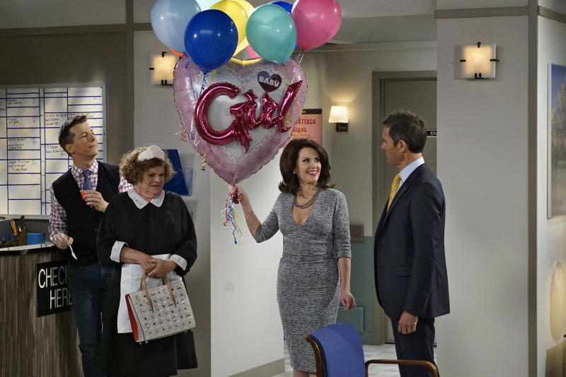 "WILL & GRACE -- ""Rosario's Quinceanera"" Episode 107 -- Pictured: (l-r) Sean Hayes as Jack McFarland, Mary Pat Gleason as Bridget, Megan Mullally as Karen Walker, Eric McCormack as Will Truman --"