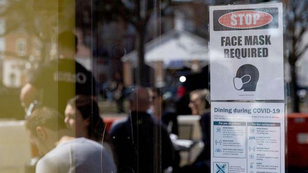 PHOTO: A sign requiring face masks and Covid-19 protocols at a restaurant in Plymouth, Mich., March 21, 2021.  (Bloomberg via Getty Images)