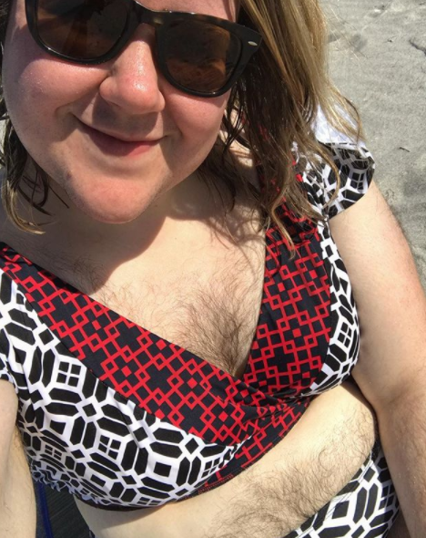 After hiding her body under clothing for years, Leah wears whatever she wants, including a bikini during a recent holiday. Photo: Instagram/happyandhairy