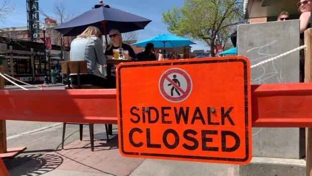 Trolley 5 was one of Calgary's first restaurants to open an expanded sidewalk patio last May. (Helen Pike/CBC - image credit)