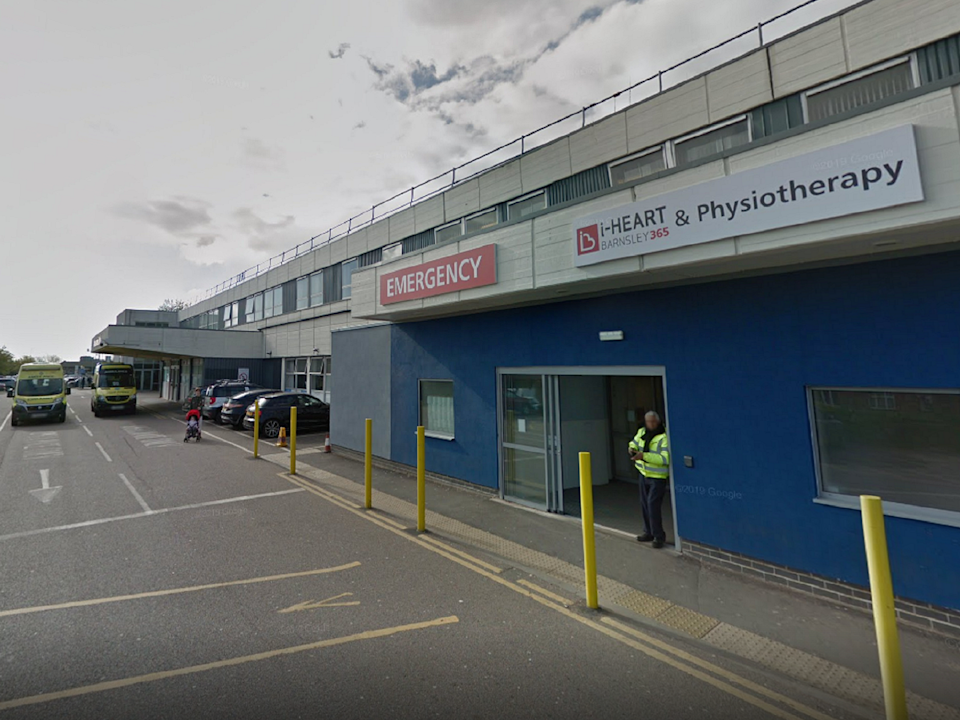 """Barnsley Hospital has issued a """"black alert"""" status as numbers arriving at its A&E department top 300 per day (Google street view)"""